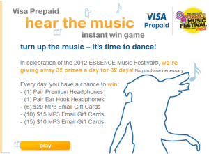 visaprepaid 300x221 Visa Prepaid Hear the Music Sweepstakes: 32 Winners Daily