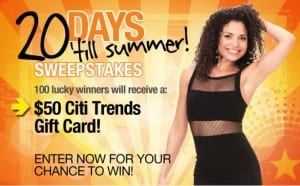 Citi Trends Sweepstakes 300x186 Citi Trends Instant Win Sweepstakes: Over 2,000 Winners!
