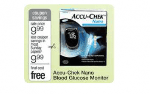 accu chek 300x189 FREE Accu Chek Nano Meter at Walmart, Walgreens and CVS!