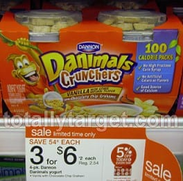 danimals crunchers Target Deal: Danimals Just $.25 For 4 Pack!!