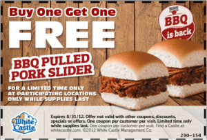freepulledpork 300x203 White Castle: BOGO Free BBQ Pulled Pork Slider