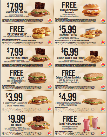 bk coupon Burger King Coupons: Buy One Get One Free Whopper, Croissanwich Chicken Parmesan, Original Chicken and Smoothies
