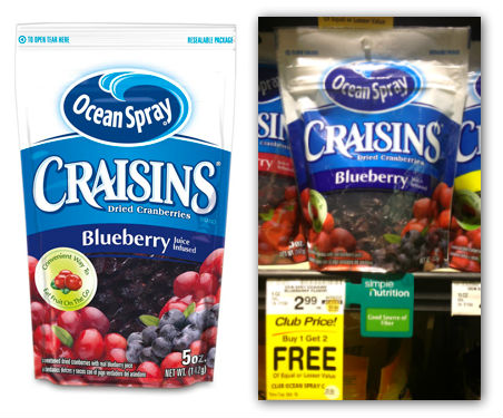 Ocean Spray Craisins Ocean Spray Craisins Just $1 Each at Safeway!
