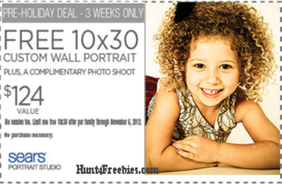 Sears 10x30 wall portrait1 FREE 10x30 Wall Portrait at Sears ($124 value)!!!
