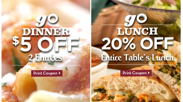 Two Olive Garden Coupons 5 Off Or 20 Off