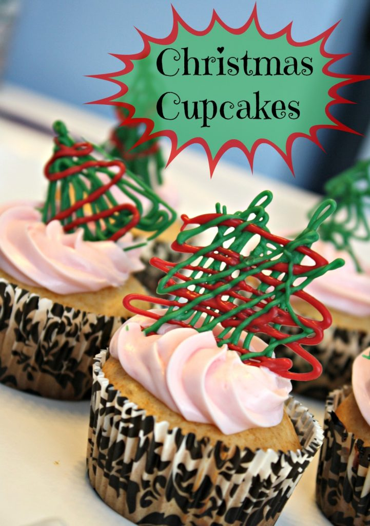 Christmas Cupcakes with Drizzled Chocolate