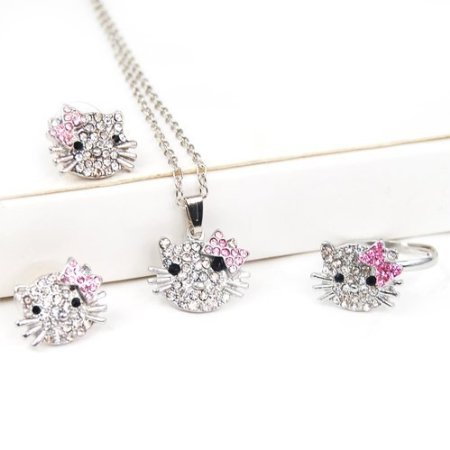 hello kitty jewelry set Hello Kitty Themed Rhinestone Jewelry Set only $1.59 Shipped!