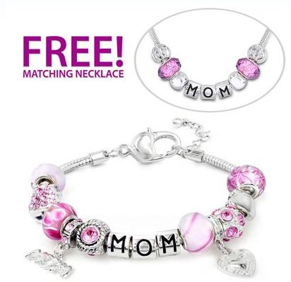 mom braclete Hand Blown Pink Glass Beads Mom Charm Bracelet with Matching Necklace only $34 shipped!