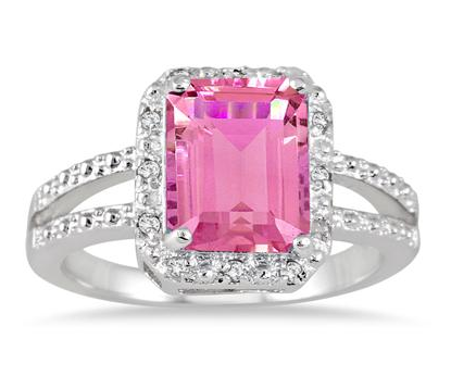 Emerald cut pink topaz and diamond ring only 39 00 was 399 00