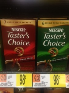 Nescafe Tasters Choice walmart Nescafe Taster's Choice 7 ct. Single Sticks Just 23¢