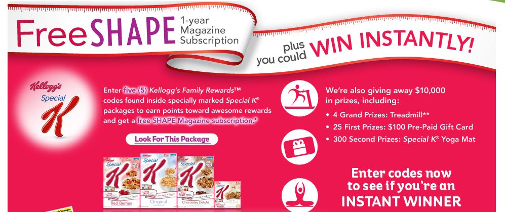 kelloggs shape Free 1 Year Shape Magazine Subscription from Kelloggs!