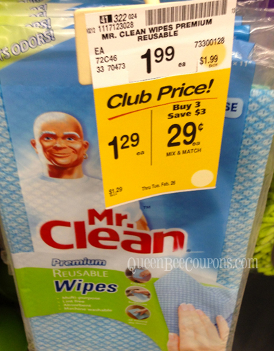 Mr. Clean Wipes at Safeway Safeway & Affiliates: Buy 3, Save $3 on Cleaning Products= Items as Low as 29¢ (No Coupon Needed!)