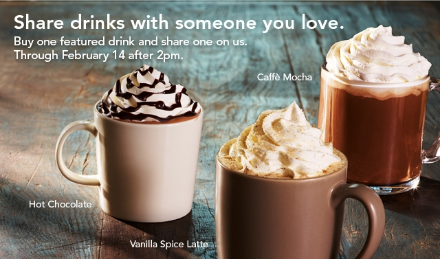 Starbucks Celebrate Every Love1 Starbucks Celebrate EveryLove Printable Coupon: B1G1 Free Latte, Mocha or Hot Chocolate (2/6 2/14)
