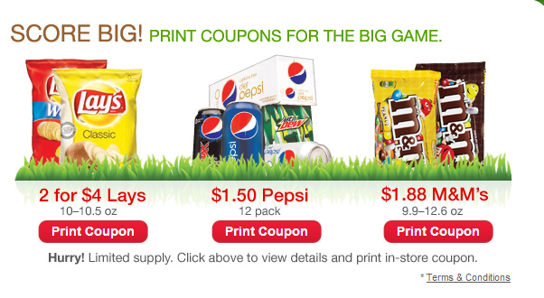pepsi 3 High Value CVS Coupons: Pepsi 12 Pk. Just $1.50, Lays 2 for $4, M&Ms Just $1.88
