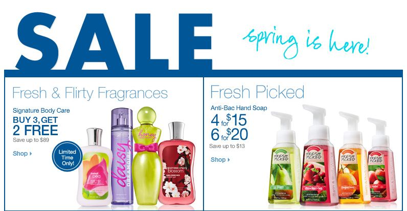 spring sale bbw Bath and Body Works Spring Surprise Coupon: Up to 40% off