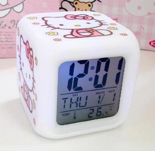 hello kitty clock Hello Kitty Alarm Clock w/ Soothing Glow LED Lights And Thermometer only $5.29 shipped!