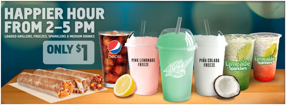 tacobell Taco Bell Happy Hour $1 Items! (2 5pm)