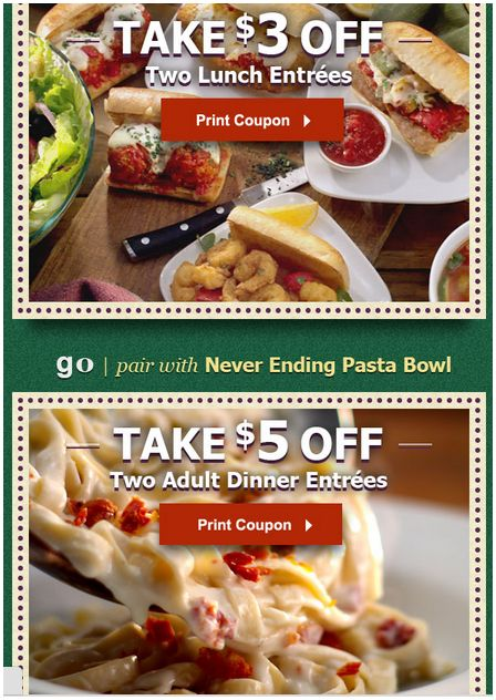 olivegarden Olive Garden $3 and $5 off Coupons
