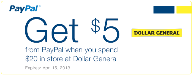 paypal Get $5 From Paypal When You Spend $20 at Dollar General!