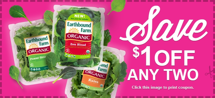 Earthbound Farms Organic Greens coupon Earthbound Farm Organic Greens $1/2 Coupon