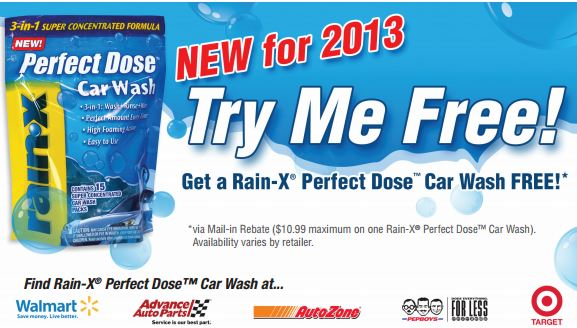 Rain X Perfect Dose rebate offer Free Rain X‏ Perfect Dose Car Wash