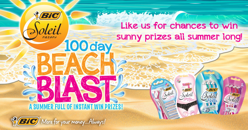 bicbeachblast Bic Soleil 100 Day Beach Blast Instant Win (100 Days of Prizes + 7 Grand Prize Winners!)