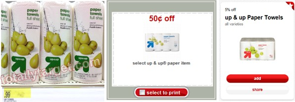up up paper towels Up & Up Paper Towels $.46 at Target!