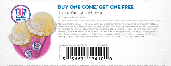 photo regarding Baskin Robbins Printable Coupons named Baskin Robbins Obtain 1 Get hold of A person Free of charge Coupon