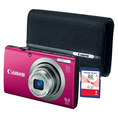 canontarget Canon A2300 Camera Bundle w/Case and 4GB Memory Card Only $70 (Was $179.99!)