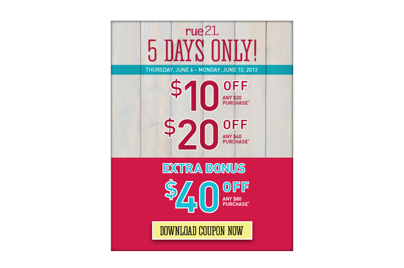 image relating to Rue 21 Printable Coupons named Rue 21: $10 off $20 invest in Within-Shop Coupon
