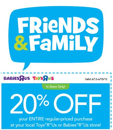 picture relating to Printable Toys R Us Coupon called Toys R Us: Buddies and Loved ones Occasion 20% off Just one Month-to-month
