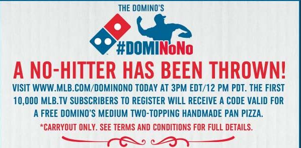 Domino's: FREE Medium 2-Topping Pizza- First 10,000 MLB TV