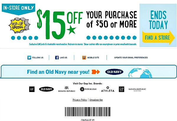 Old Navy has continued to deliver on its original purpose since - to offer great fashion at great prices for adults, kids and baby. Old Navy coupon codes and discounts are great when shopping for denim, graphic tees, Performance Fleece, and more other produts - all in .