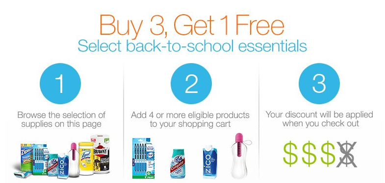 amazon Amazon: Buy 3 Get 1 FREE Back to School Supplies and Paper Products!