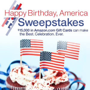 happy birthday 300x300 Amazon Happy Birthday America Sweepstakes  Win $15,000, $4,000 or $1,000 Gift Card