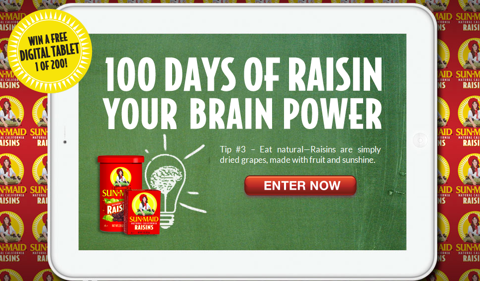 sunmaid Sun Maid 100 Days of Tablets Sweepstakes!