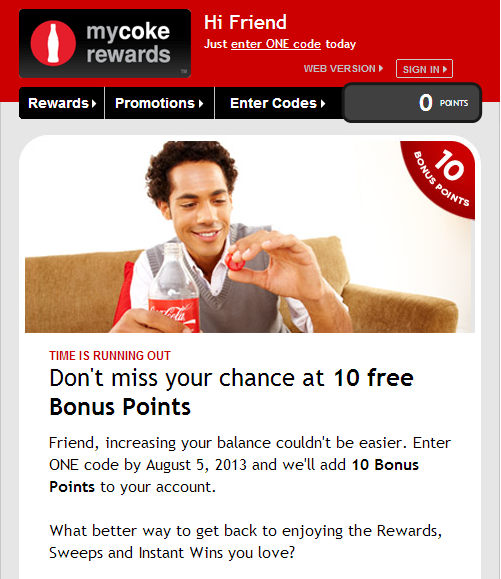 my coke rew My Coke Rewards   10 Free Bonus Points