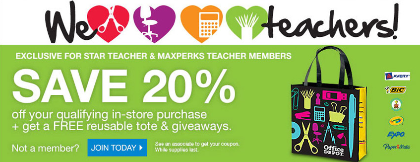 Free reusable tote bags and 20 off for teachers at officemax