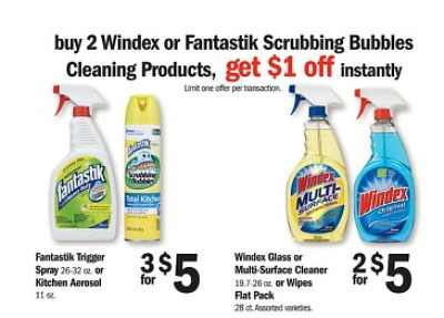 windex Moneymaker on Scrubbing Bubbles Fantastik Cleaner and Windex Only $0.75 at Meijer!