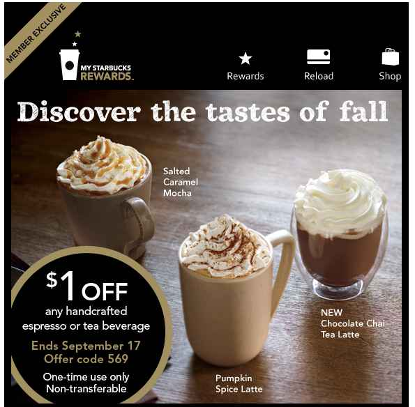 Starbucks Coupon Fall $1 off any Fall Hand Crafted Beverage at Starbucks Coupon!