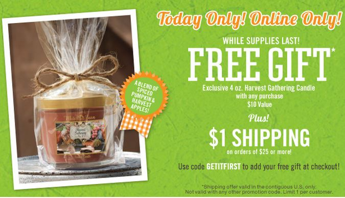 bath & body works free candle Sept. 25