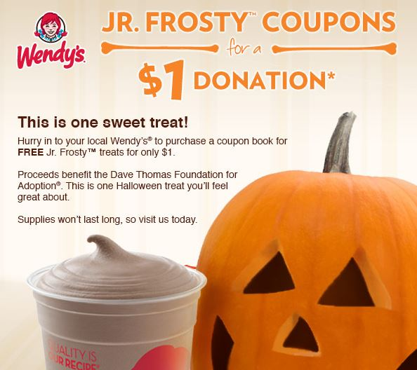 jr frosty Wendys FREE Jr Frosty Coupon Books only $1
