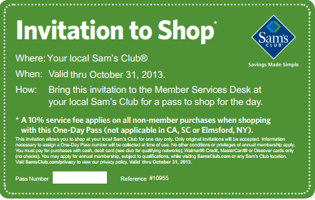 samsclub FREE One Day Pass at Sams Club!
