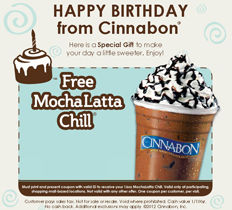Cinnabon MochaLatta Chill Celebrate your Birthday with over 100 Freebies!!!