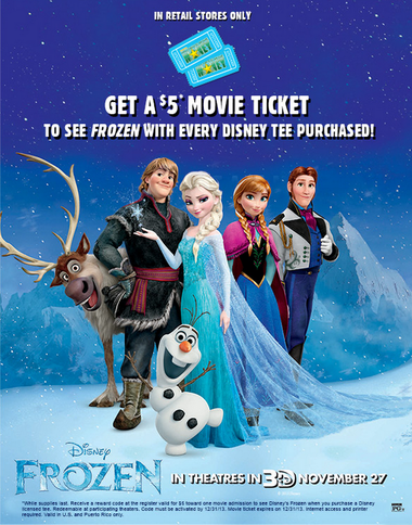 $5 Frozen Movie ticket