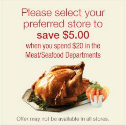 Kroger 5 off meat seafood ecoupon Kroger & Affiliate Stores: $5 off $20 Purchase eCoupon