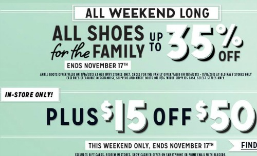 Old Navy 35 off shoes and $15 off