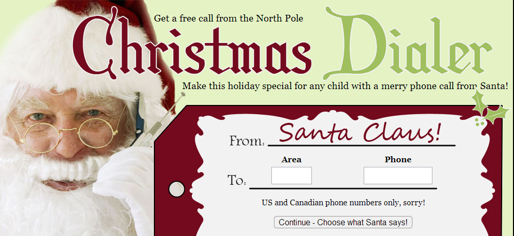 santacall FREE Personalized Phone Call From Santa Claus!