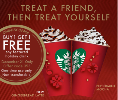 Starbucks bogo Dec 21 Starbucks: BOGO Drink Offer for Rewards Members  Today Only