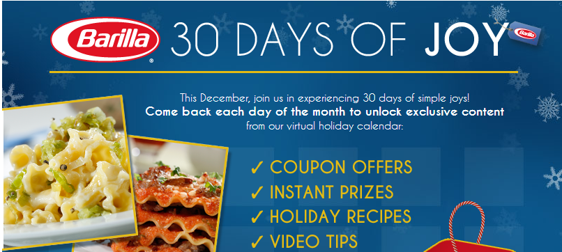 barilla Barilla 30 Days of Joy Sweepstakes: Win a $1500 Gift Card and Espresso Maker!